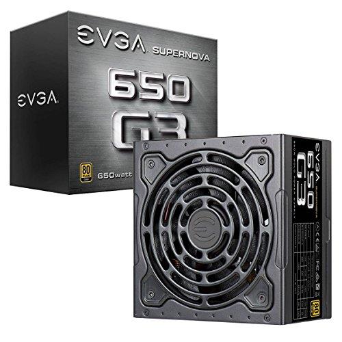 EVGA Supernova 650 G3, 80 Plus Gold 650W, Totalmente Modular, Modo Eco con Nuevo Ventilador HDB, Incluye Power ON Self Tester, Tamaño Compacto de 150 mm, Fuente de alimentación 220-G3-0650-Y2