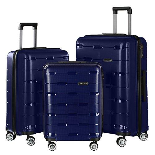 Nasher Miles Santorini Polypropylene Hard-Sided Check-in Luggage Set Of 3 Navy-Blue (55, 65 & 73.5 cm) Trolley Bag