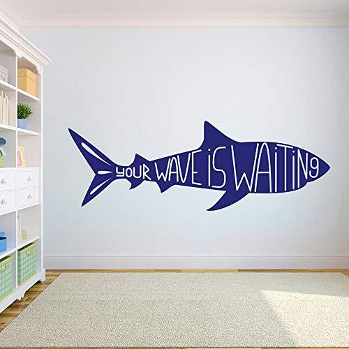 WSLIUXU Surf Shark Palm Adesivo da parete fai da te in vinile Surf Boy Adesivo da parete Camera...
