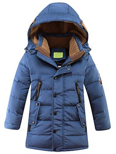 Vogstyle Bambini Giubbotto Piumino Invernale Ragazzi Ragazze Leggero Impermeabile Cappotto Con Cappuccio Blu 12 Anni/Altezza 150-160