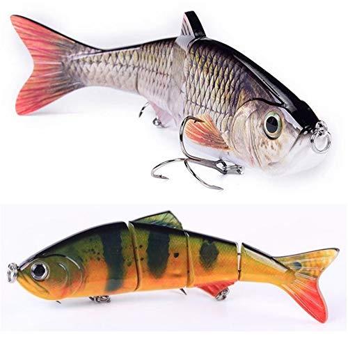DALMFisher Wobbler Jerkbait 150 mm, 35 g, Accessorio per Pesca con Esca con Gancio da Pesca per luccio, persico, luccioperca, siluro e siluro, Verde/Giallo