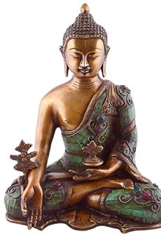 Balón medicinal estatua de Buda – Figura decorativa de curación Shakyamuni joya para Peace and relaxation – 27,94 cm tamaño grande turquesa Coral Lapis de Buda figura de Nepal