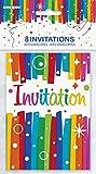 Unique Party 49574 - Inviti di Compleanno con Nastri Arcobaleno, Confezione da 8