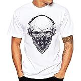 Honestyi T-Shirt à Manches Courtes Tops Homme Été en Modal Col Rond Imprimé Crâne Casual Chemise Tee Blouse T Shirt de Plage Loisirs Voyager Haut (M, Blanc 1)
