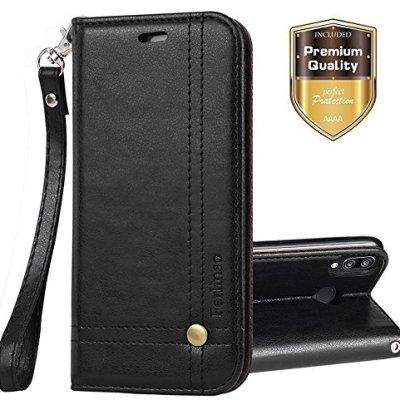 Ferlinso Cover per Huawei P20 Lite Custodia, Cover Pelle Elegante retrò con Custodia Slot Holder per Carta di Credito Custodia di Chiusura Magnetica per Flip per Huawei P20 Lite(Nero)