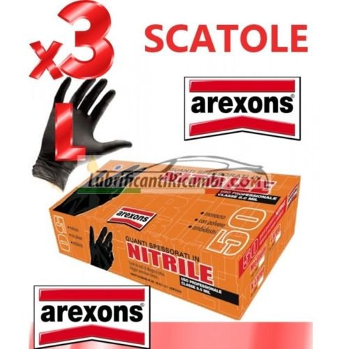 GUANTI SPESSORATI IN NITRILE AREXONS 3 CONF.150pz. tg. L CLASSE 8.0 MIL -Offerta