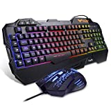 Teclado Gaming Español HAVIT Teclado y Ratón con Rainbow Retroiluminación ,ratón gaming, 12 teclas multimedia y 19 teclas anti fantasma ,para PC/Gamer/Laptop