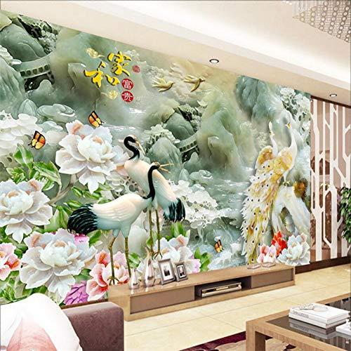 HHCUIJ Carta Da Parati Murale Jade Pavone Peonia Paesaggio 3D Foto Wallpaper Tv Soggiorno Divano Hd...