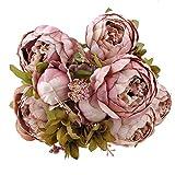 Weksi® Bouquet de Pivoine Artificielle Fleurs, Parfait pour le Mariage, Nuptiale, Partie, Bureau Décor Bricolag (Vieux Rose)