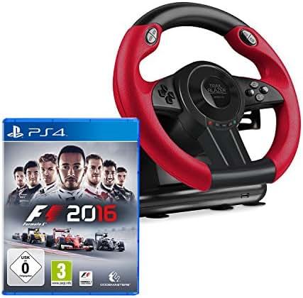 Speedlink SL-450500-BK Trailblazer Racing Wheel Gaming Lenkrad für PS4, Xbox One, PS3 + F1 2016
