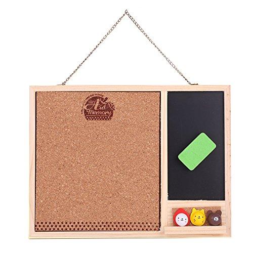 Doppia funzione lavagna magnetica Small Message Black Board Set solida cornice da appendere in legno...