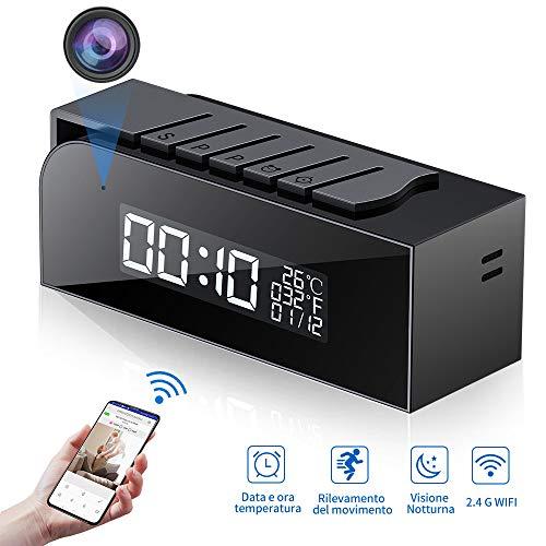 Telecamera Spia 1080P, HY Nascosta WIFI Orologio Sveglia Spy Cam HD Videocamera Mini Microcamere con...