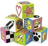 Miniland Set 6 Cubi, Stoffa con Sonaglio Lato, 7 cm