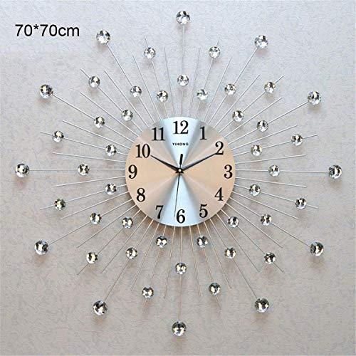 FCZH Orologio da Parete in Cristallo, Moderno Orologio da Parete Grande Muto Senza Cornice, Autoadesivo dello Specchio,70cm
