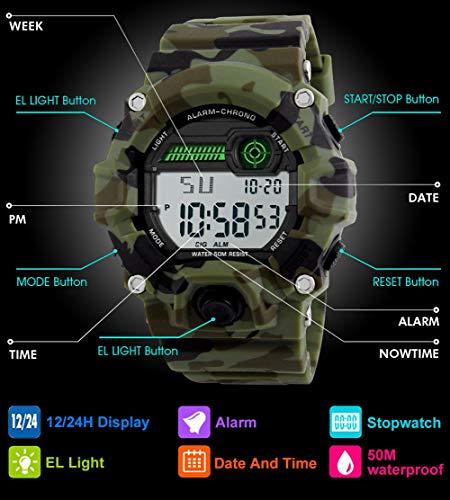 Orologi digitali per bambini, ragazzi sportivi Orologi militari con sveglia / timer, Bambini ragazzo...