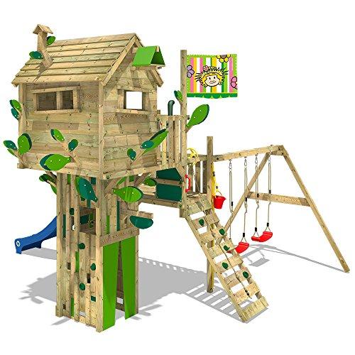 WICKEY Cabane Smart Treetop aire de jeux mur d'escalade avec toboggan, balançoire double et de nombreuses possibilités d'escalade