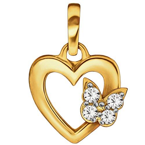 Clever joyas dorado pequeño colgante Mini Corazón 9mm interior abierto con mariposa y circonitas blancas en el lado derecho lado brillante 333Oro 8quilates