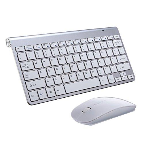Teclado Ratón Inalámbrico,SUAVER Teclado compacto Ultra Slim Teclado inalámbrico 2.4GHz Ratón ópticos( DPI 800/1200/1600) Oficina Ratón Ahorra de Energía, para PC Portátil Windows,Receptor USB (Plata)