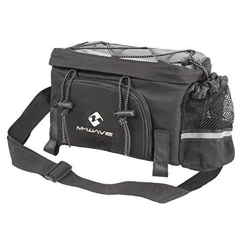 M-Wave Erweiterbare Gepäckträgertasche Alforjas traseras triples, Portable, Capacidad 16 l, Unisex, Negro/Gris