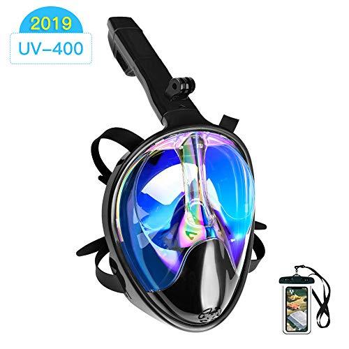 Maschera Subacquea,180 ° Vista panoramica Maschera da Snorkeling,Anti-Fog Maschera per Immersioni Anti-fughe con Supporto per Fotocamera Staccabile Design Attrezzatura per Lo Snorkeling