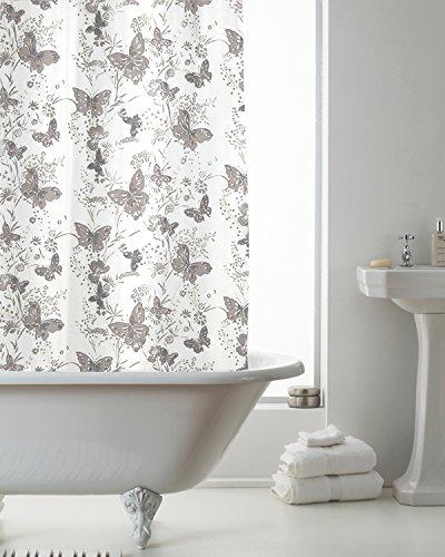 Country Club cortina de ducha mariposas gris 180x 180cm