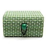 JIACHENG29anello collana orecchini in legno di bambù di gioielli scatole Holder Gift, Green, taglia unica