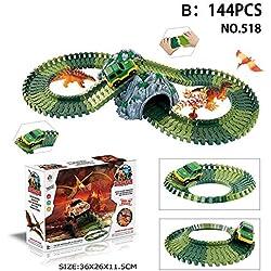 Eruditter Magic Car Track Juego de Pista de Carreras de Coches Juego de ensamblaje de Juguetes para Niños Ferrocarril Carros de Carreras Dinosaur Theme Tema Track Toy