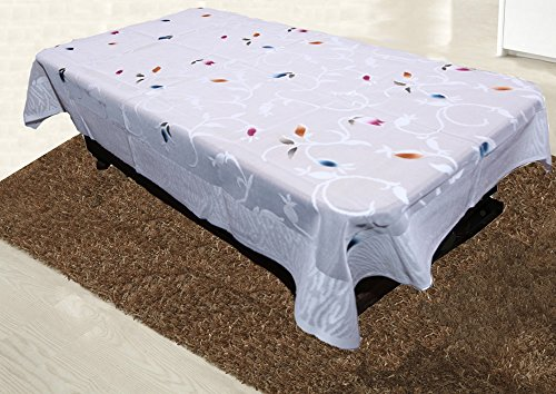Kuber Industries Floral Cotton 4 Seater Centre Table Cover - White