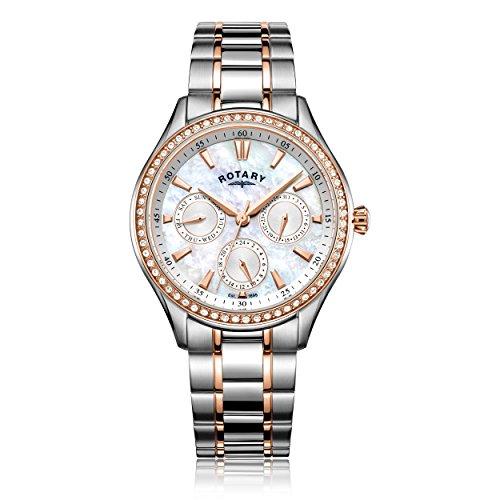 Rotary Damen Datum klassisch Quarz Uhr mit Edelstahl Armband LB05057/41