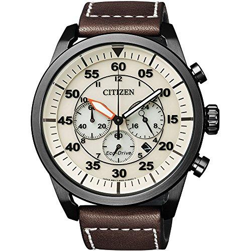 Citizen Herren Chronograph Quarz Uhr mit Leder Armband CA4215-04W