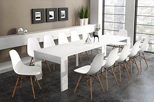 Home Innovation - Tavolo consolle allungabile fino a 301cm, bianco lucido, dimensioni chiusa: 90 x...