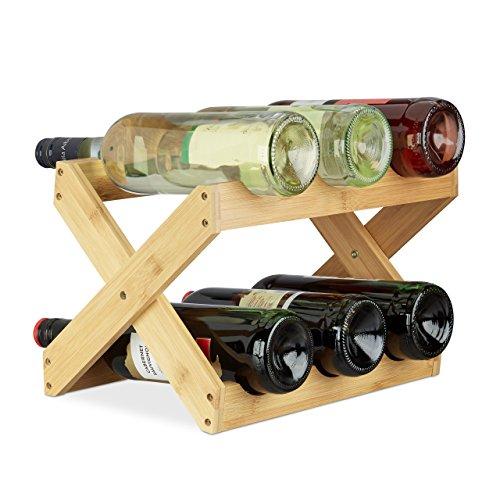 Relaxdays X-Shape Porta Vino Bambù a Forma di X 6 Bottiglie Stile Rustico Cantinetta Pieghevole HLP...