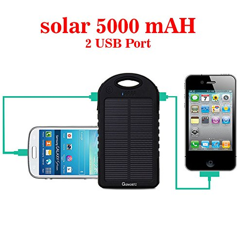 Gizmobitz Power Bank Solar Hanger 5000 mah with 3 IN 1 Cable - Black