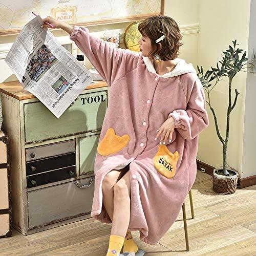 DUJUN Camisón Suave con Capucha para Mujer, Pijama Grueso de Terciopelo Coral, Albornoces Largos y cálidos, Ropa de hogar Dulce y Encantadora, una Variedad de Estilos, A7 M