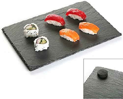 PIATTO buffet piano RETTANGOLARE da portata sushi in ARDESIA lavagna NERO 30x20 cm