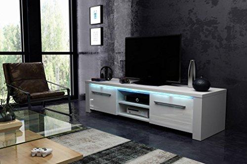 Vivaldi Manhattan 160. Mobile TV Design Bianco Opaco con Bianco Lucido. Illuminazione a LED Blu