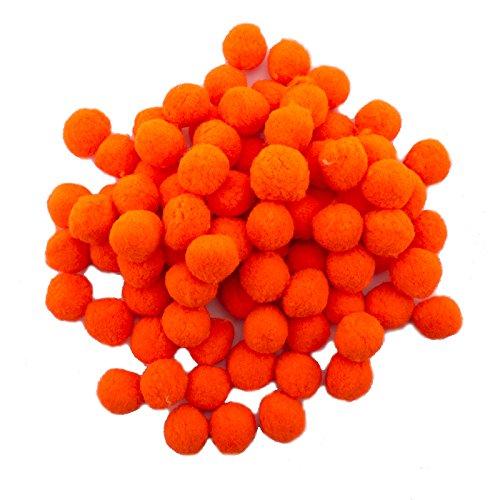HAND Un Pacchetto Jumbo da 250 pomoni Pomona Neon Orange 20 mm Diametro - 125 g - Perfetto per abbellimento di Moda, Arti e Mestieri