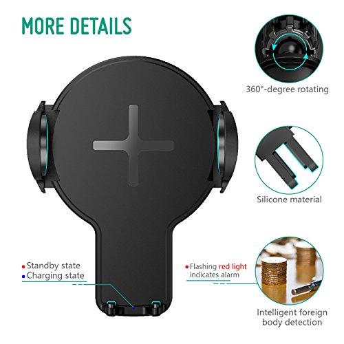 Caricabatterie Wireless Auto, Auckly Caricatore Wireless Veloce per Auto, Supporto 360° Girevole con base di carica per IPhone X / 8/8 Plus, Samsung Galaxy S8 / S8 Plus / Bordo S7 / S7, Note 5