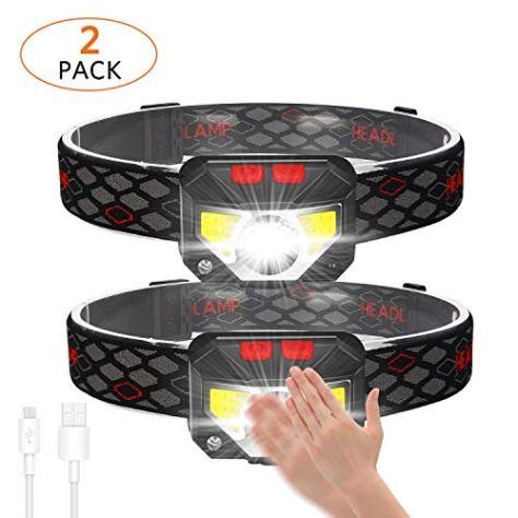USB Wiederaufladbare LED Stirnlampe, Kopflampe 800 Lumen super helle mit 6 Modi, COB LED Kopflicht IPX45 Wasserdicht Leichtgewichts Mini stirnlampen für Laufen, Joggen, Angeln, Campen, Kinder-2 Stück