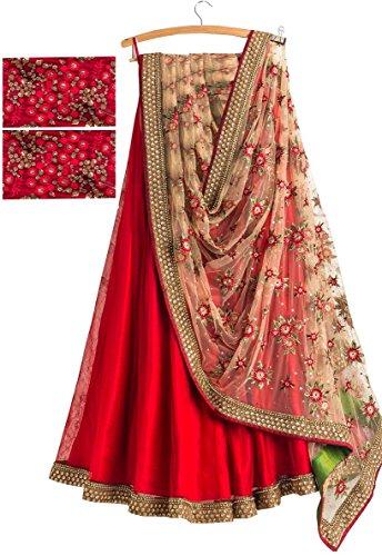 Market Magic World Women's Benglory Silk Anarkali Lehenga Choli (Mmw_Lehnga_4105_Red_Half Sleeve)