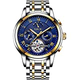 Mens Watch LIGE Automatic Mechanical Watches Waterproof Stainless Steel Calendar Moon Phase Watch Fashion Casual Skeleton Tourbillon Watch Gold Blue