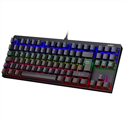 Aukey Mechanische Tastatur hintergrundbeleuchtet blau Switches 88Tasten UK Layout Gaming Tastatur Metall Platte 100{ed88c970d27bd6876374cd98ce13679677acf1a6adf5cde87404479a15e5e2ab} Anti-Ghosting mit Key Cap Abzieher für Gamer und typists