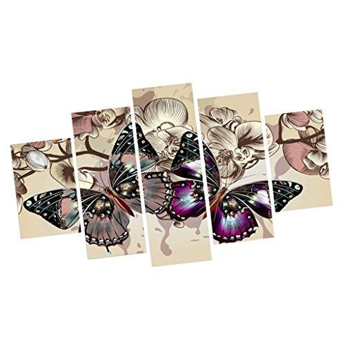 5pcs Decoración de Pared Mariposa Cuadro de Pintura Arte Lona - #A