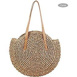 iBaste Rattan Tasche Rund Korbtasche Rund aus Stroh Sommer Korbtasche Crossbody Umhängetasche für Damen Hochwertige Qualität