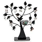 Queta metal Jewelry Tree display stand, decorativo porta orecchini e anello, colore: Nero