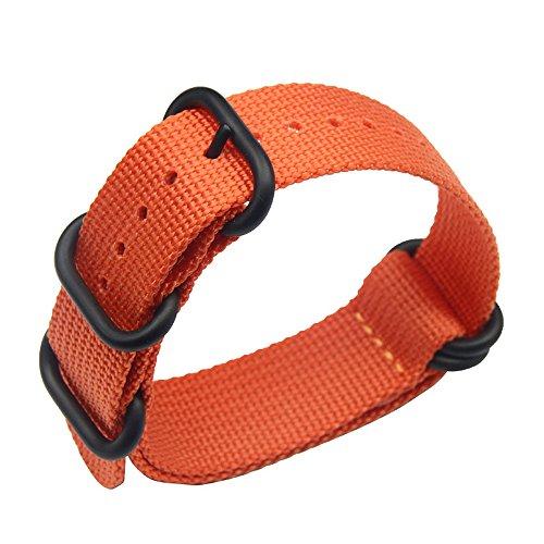 20 millimetri in un unico pezzo cinturini per orologi stile NATO nylon Perlon degli uomini squisiti di lusso arancione strisce di tessuto