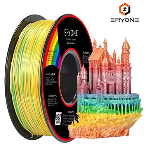 PLA Filament 1.75mm Mini Rainbow Multicolor, ERYONE Multicolor Filament PLA 1.75mm, 3D Printing...