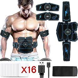 Electroestimulador Muscular, Hieha Abdominales Masajeador Eléctrico Cinturón con USB, Estimulador Muscular Ejercitar Abdomen/Brazo/Piernas/Cintura para Hombre Mujer (Azul)