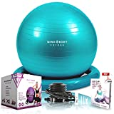 Ballon de Gym ou Swiss Ball de Mind Body Future. Gym Swiss Ball pour Pilates, Yoga, Grossesse, Fitness. Robuste, Antidérapant, Hypoallergénique - 75 cm. Livré avec Base et Pompe. Turquoise