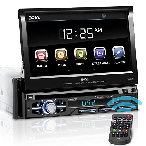 BOSS AUDIO In-Dash Single-Din 7-inch Motorized Detachable Touchscreen Hands-free Bluetooth Player Receiver with Remote DVD/CD/USB/SD/MP4/MP3 Support
